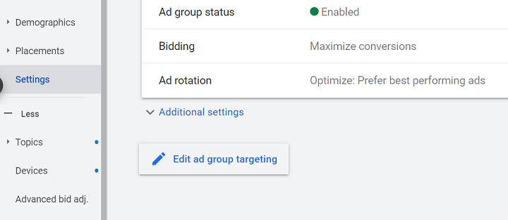 google ads optimized targeting toggle button