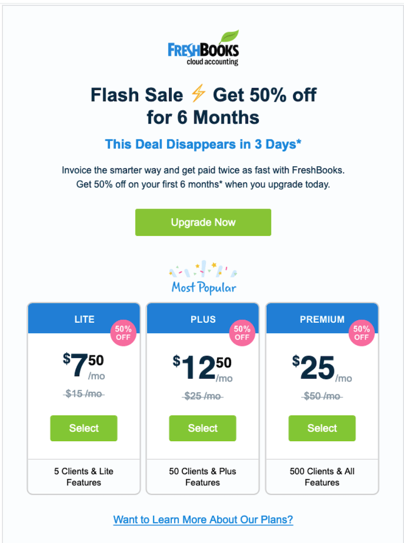 promotional email examples flash sale freshbooks
