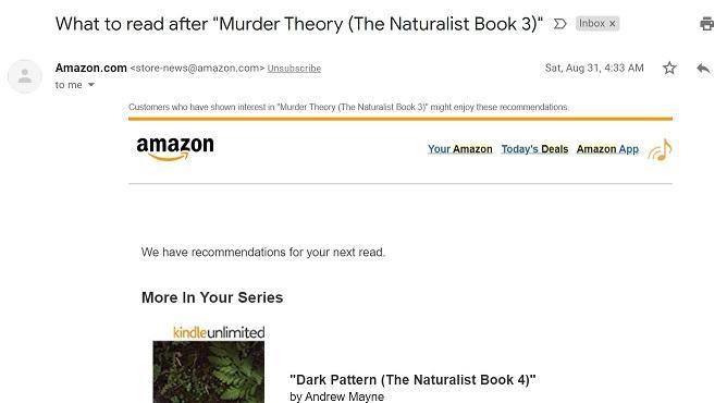Email de observação de anúncios da Amazon