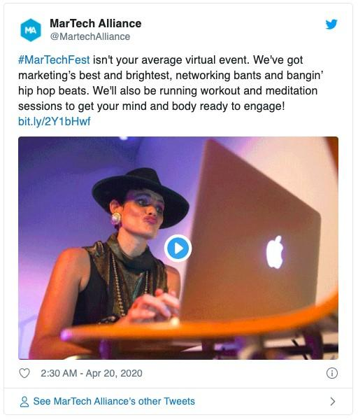 example of a tweet with video promoting a virtual event
