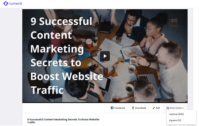 visual marketing tools lumen 5 video example