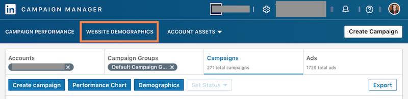 website demographics linkedin dashboard