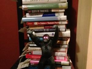 My library books, with bonus gorilla.