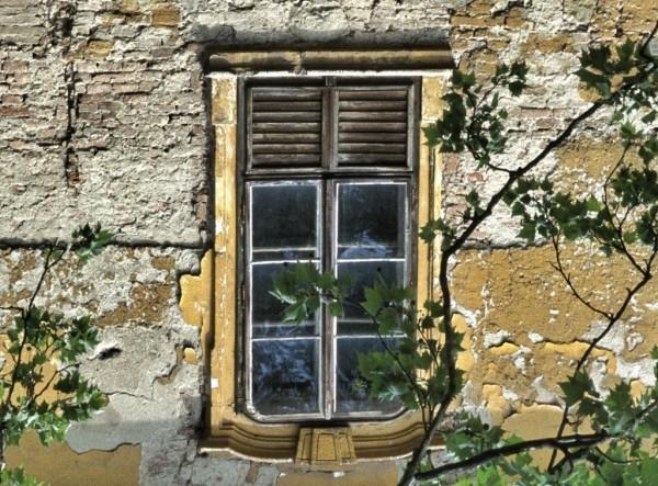 Window in Gödöllo Palace before restoration.