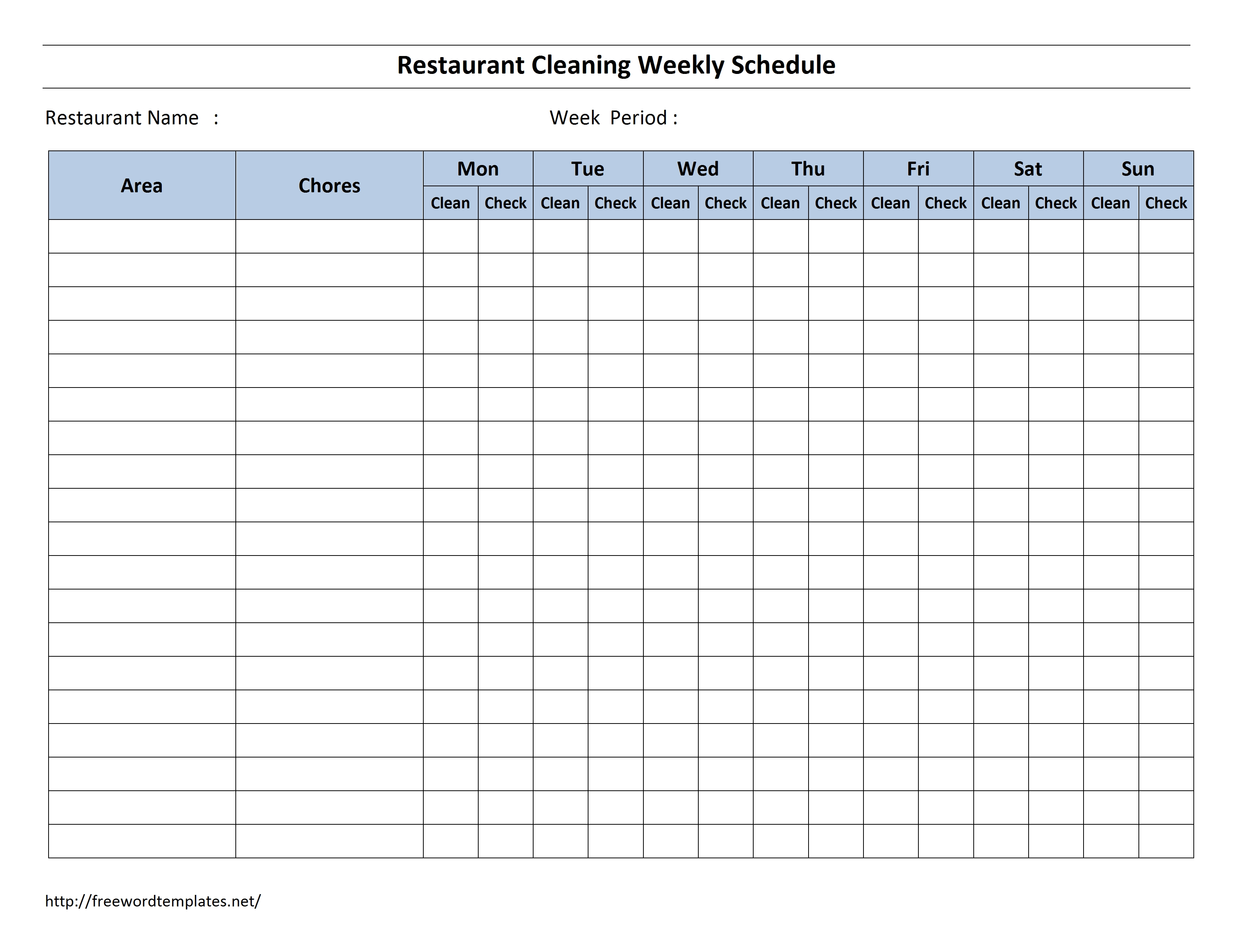 Hotel Room Cleaning Schedule Template