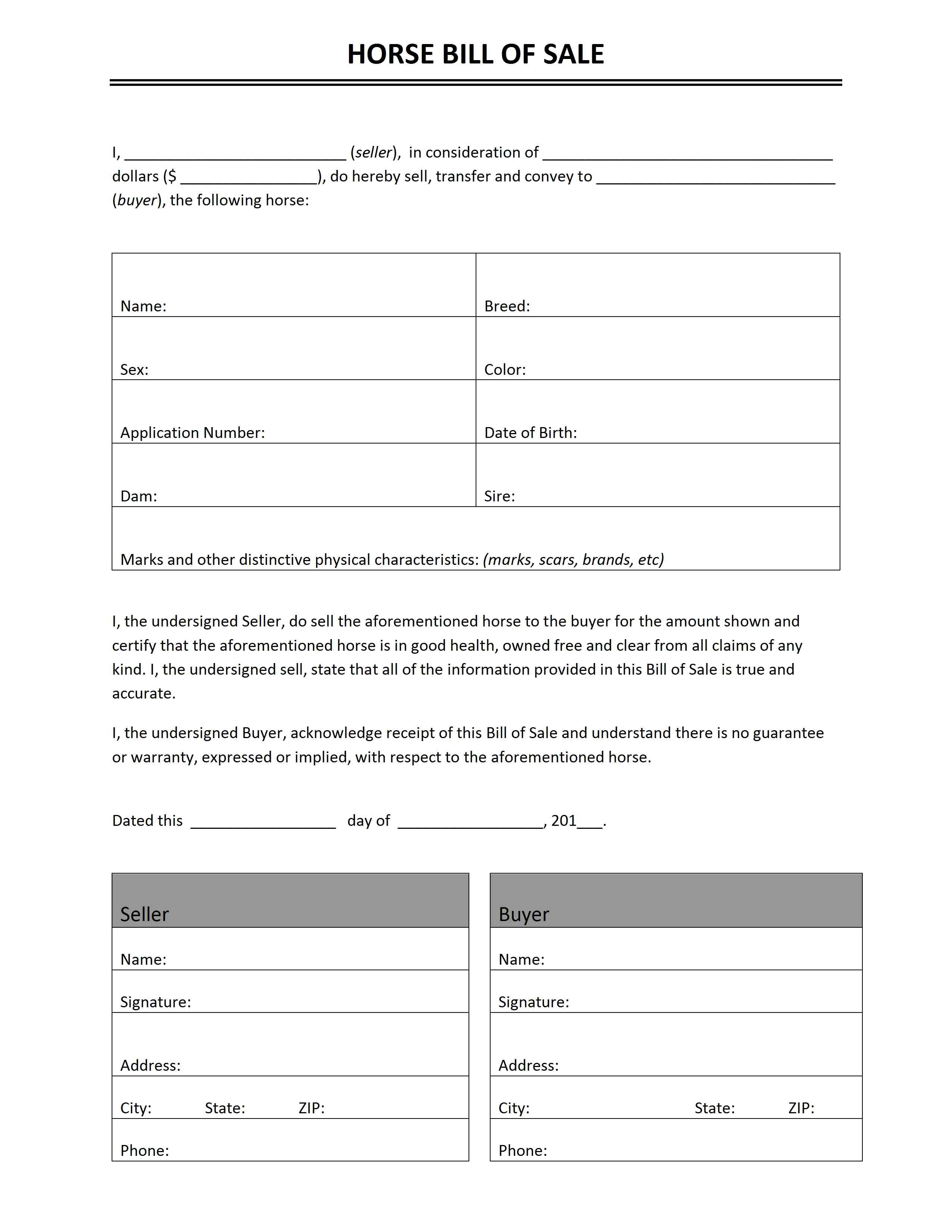 Horse Bill Of Sale Template