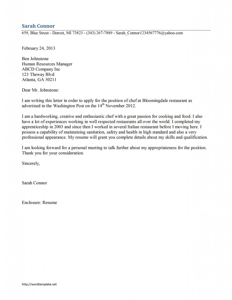 Chef Cover Letter Template