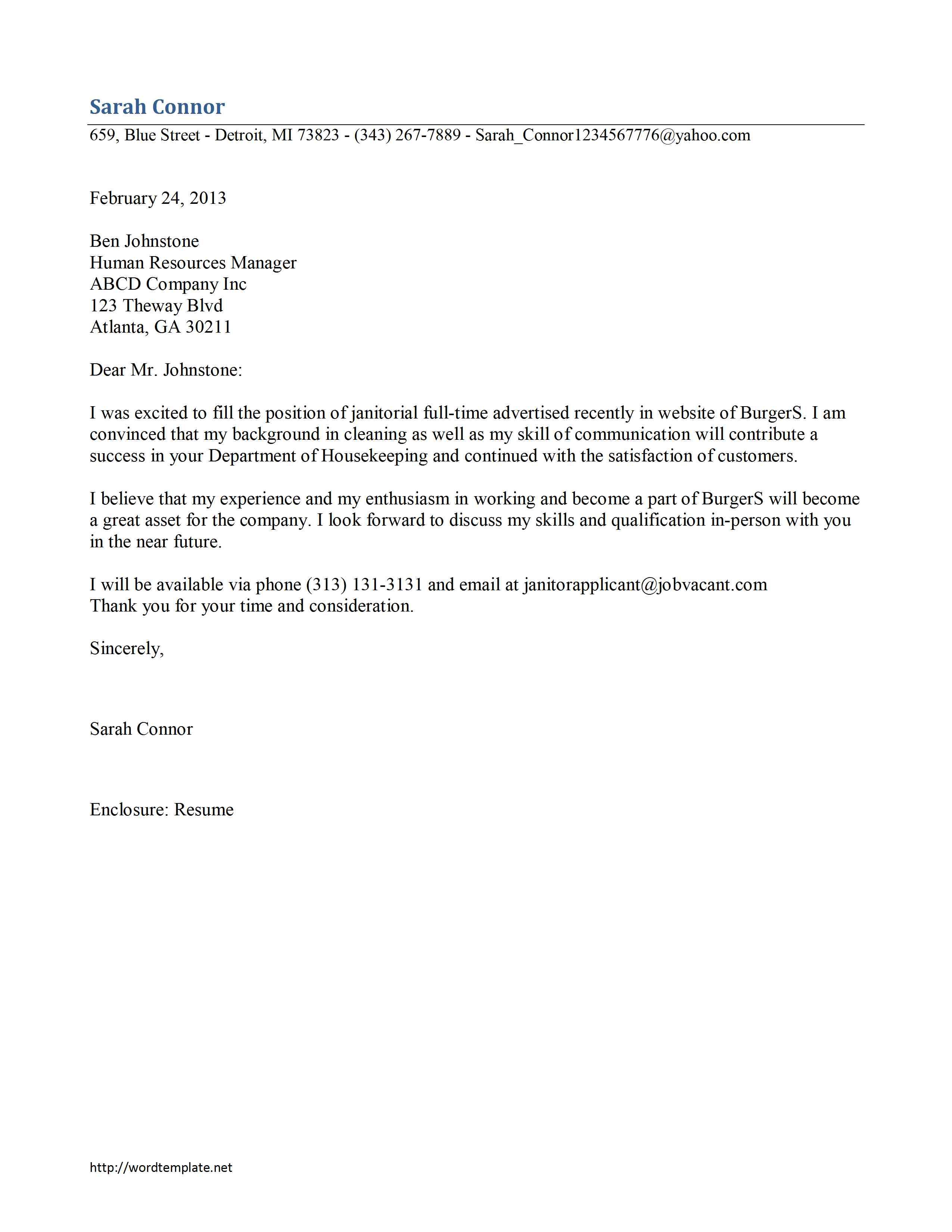 letter of recommendation for custodian