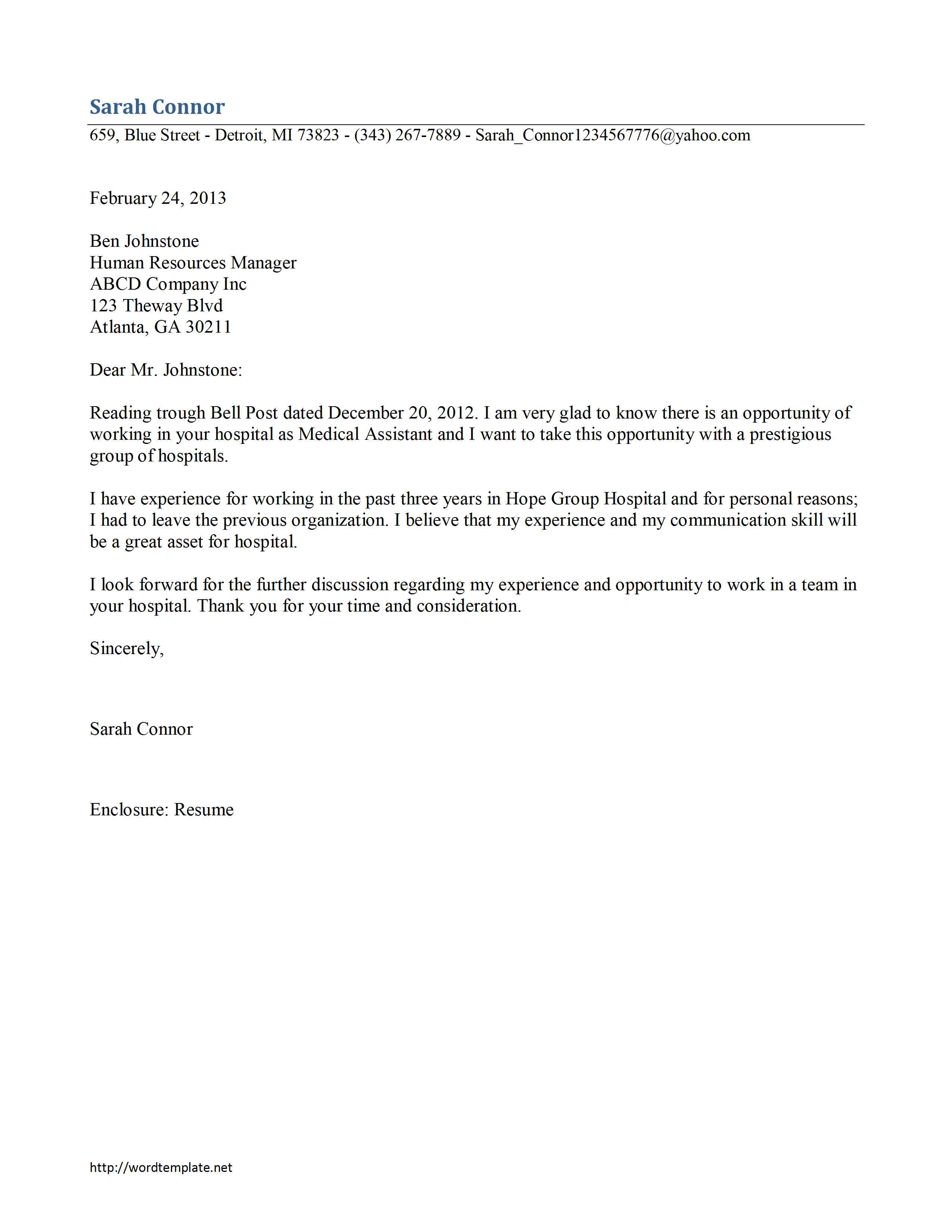 printable cover letter  Free Microsoft Word Templates