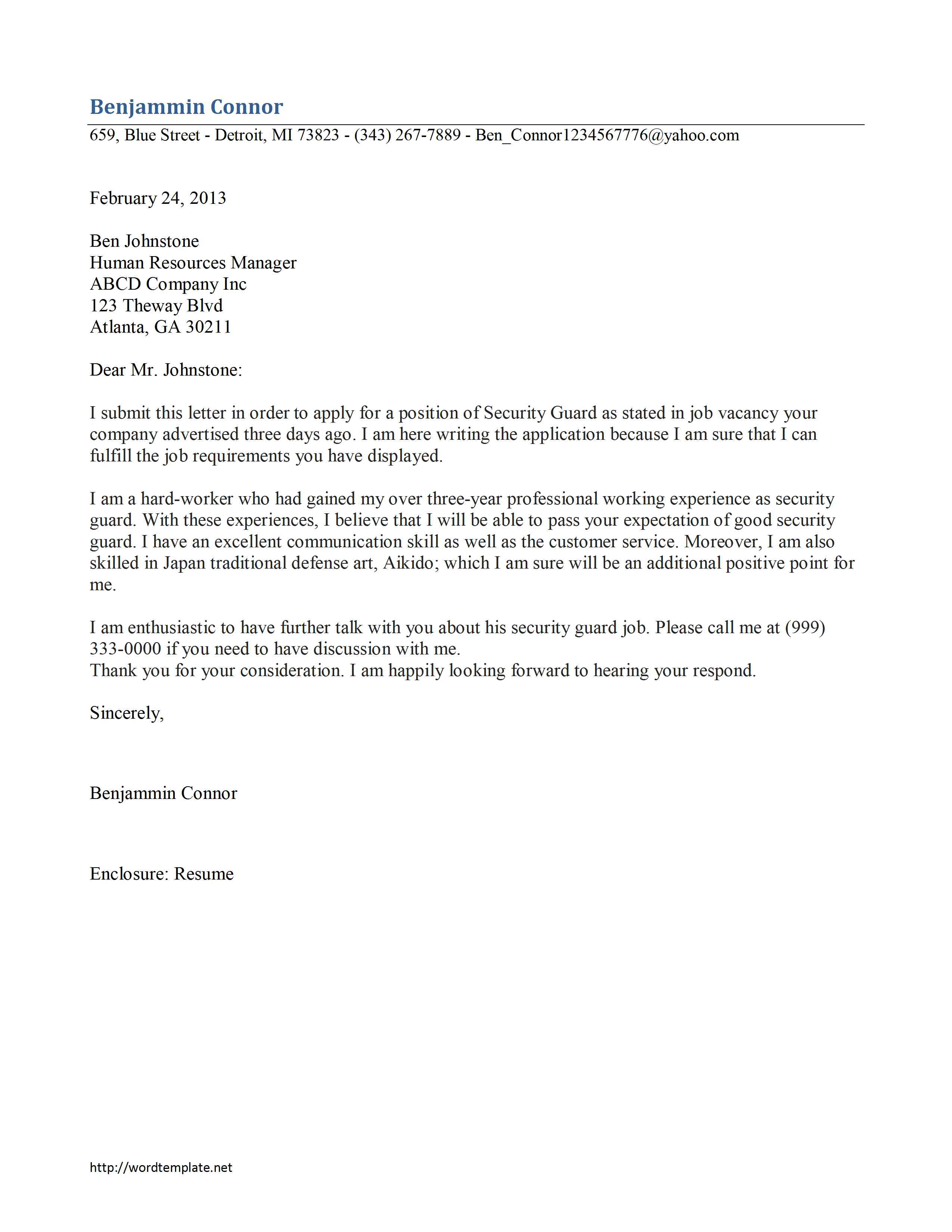 Security Guard Cover Letter Template