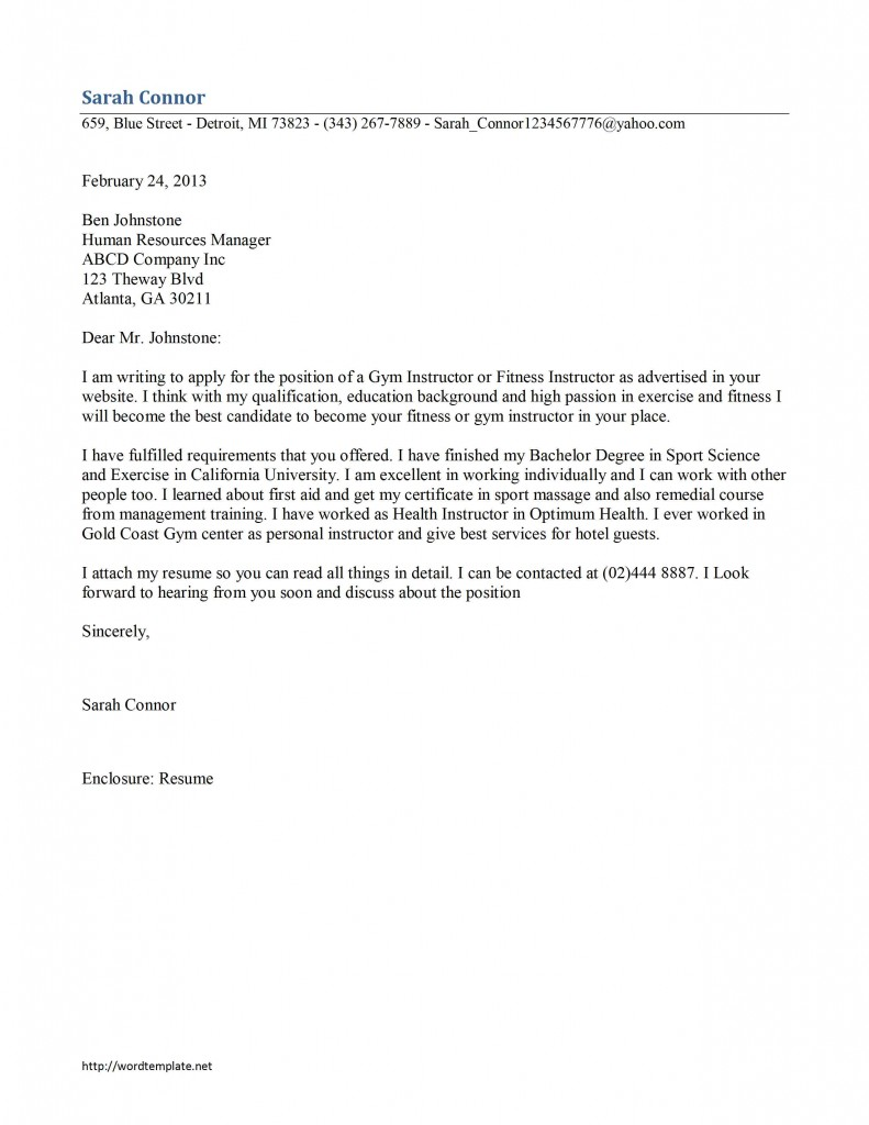 Gym Instructor Cover Letter Template