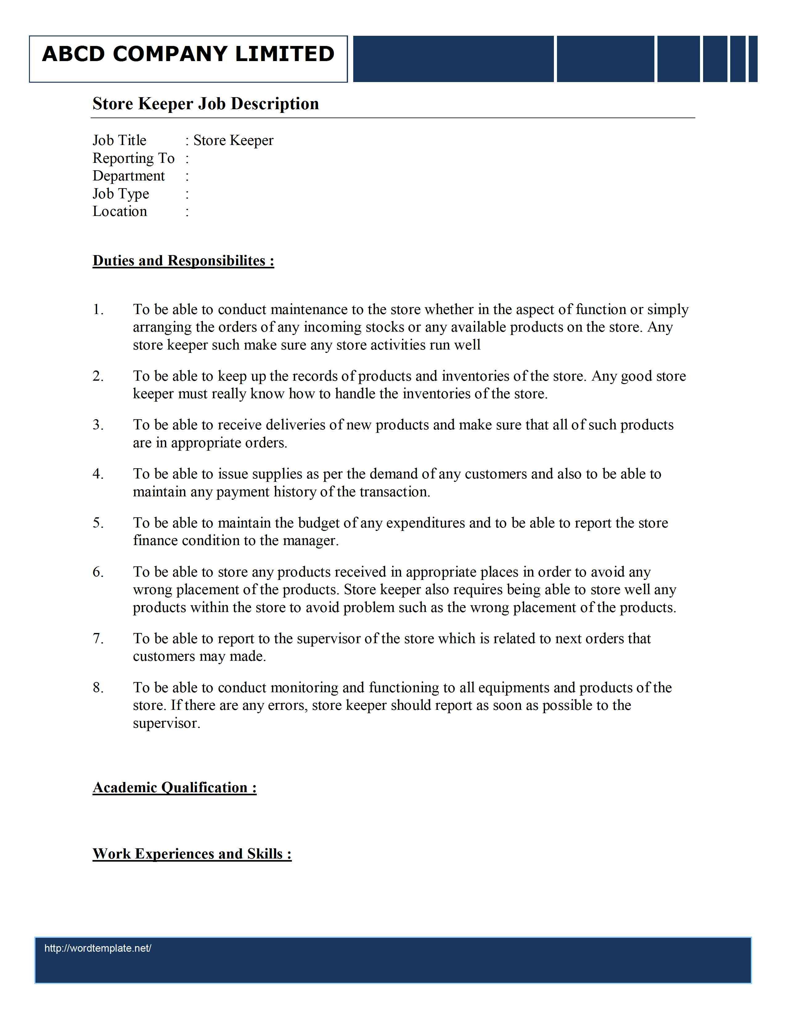 Storekeeper resume samples | velvet jobs.