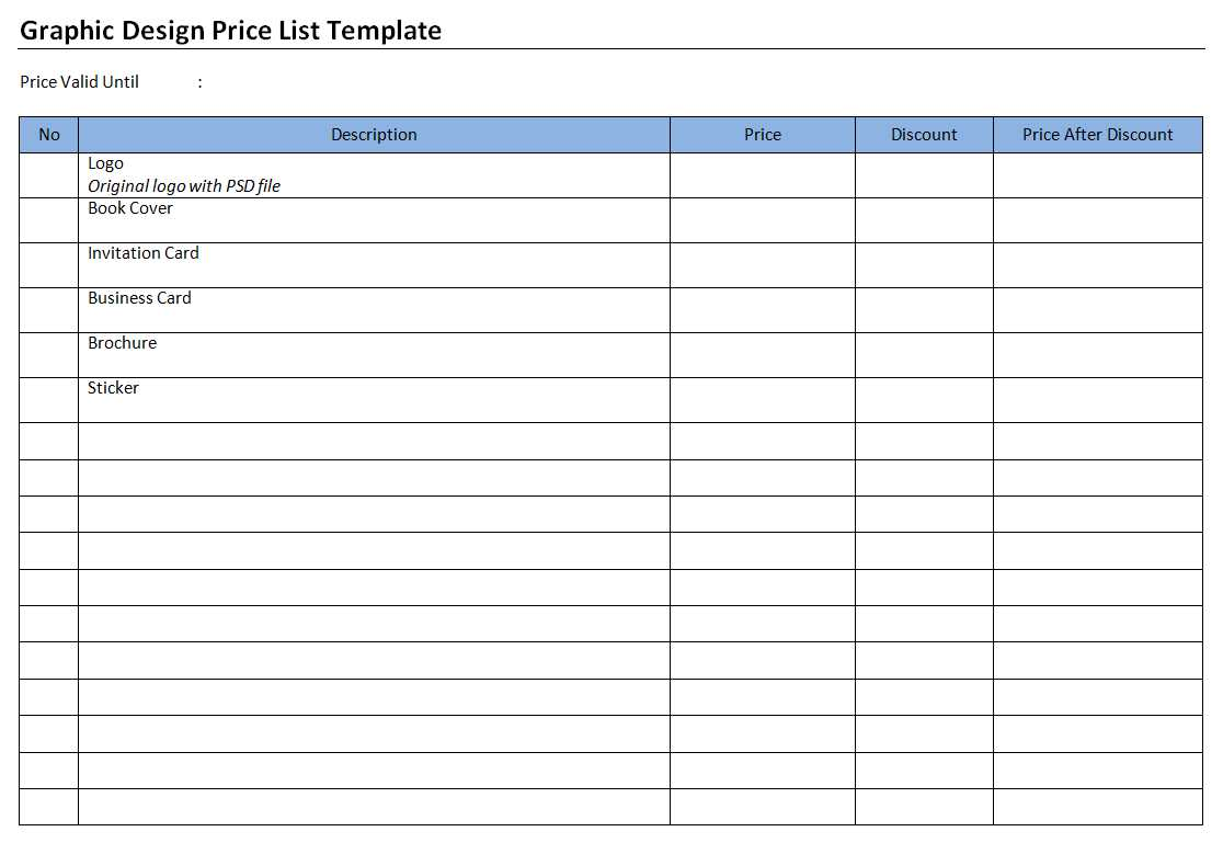 Graphic Design Price List Template