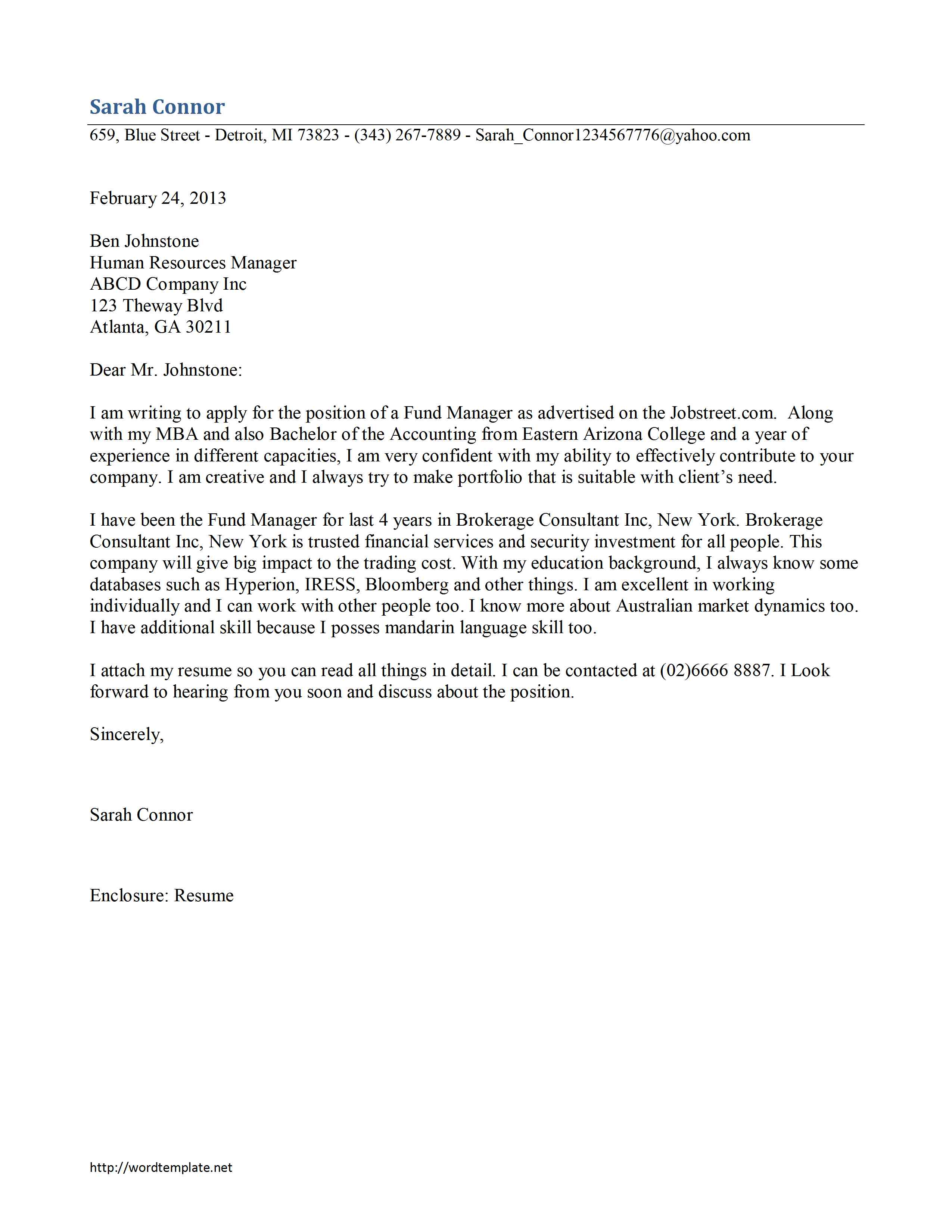 Fund Manager Cover Letter Template  Free Microsoft Word Templates