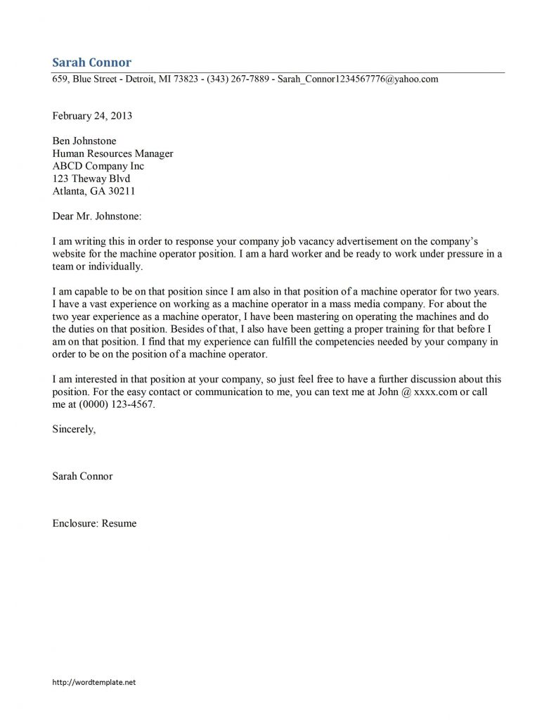Machine Operator Cover Letter Template
