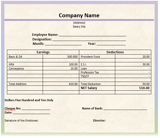 salary slip format in excel word simple resume templates for word