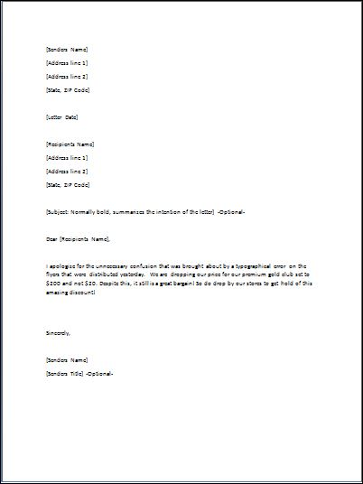 Sample Inform Letter Template Formal Word Templates