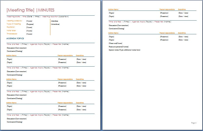 meeting agenda minutes template - April.onthemarch.co