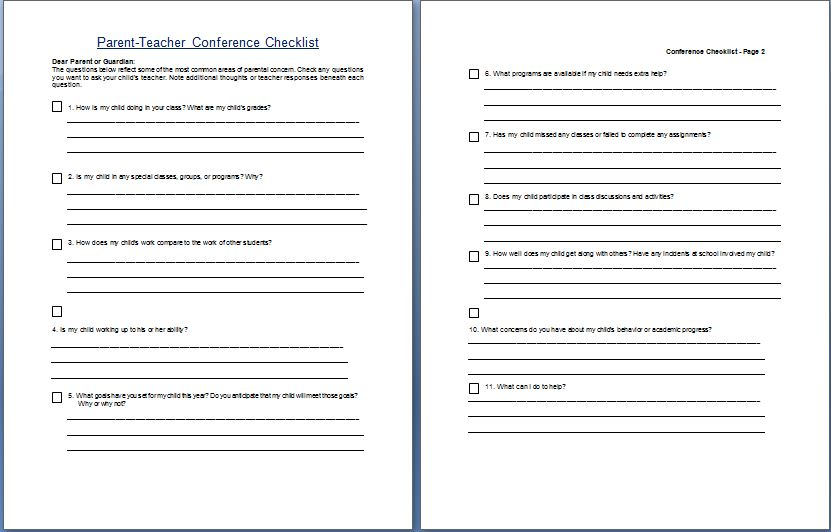 It is an image of Printable Parent Teacher Conference Forms with record discussion