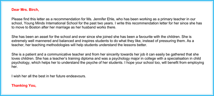 Teacher Recommendation Letter ( 20+ Samples / Fromats