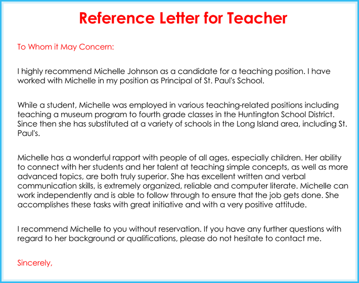 Teacher Recommendation Letter ( 20+ Samples / Fromats