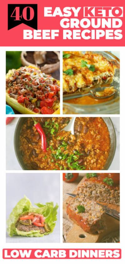 40 Keto Ground Beef Recipes | The best low carb dinner recipes with ground beef! If you're looking for easy keto ground beef recipes for your ketogenic diet check out these easy keto dinner recipes! Simple keto casseroles, easy one-pot recipes, and keto crockpot meals that make losing weight delicious! From keto tacos to stuffed peppers & cabbage rolls there's a budget-friendly keto ground beef recipe here your family will love! #keto #ketorecipes #lowcarb #lowcarbrecipes