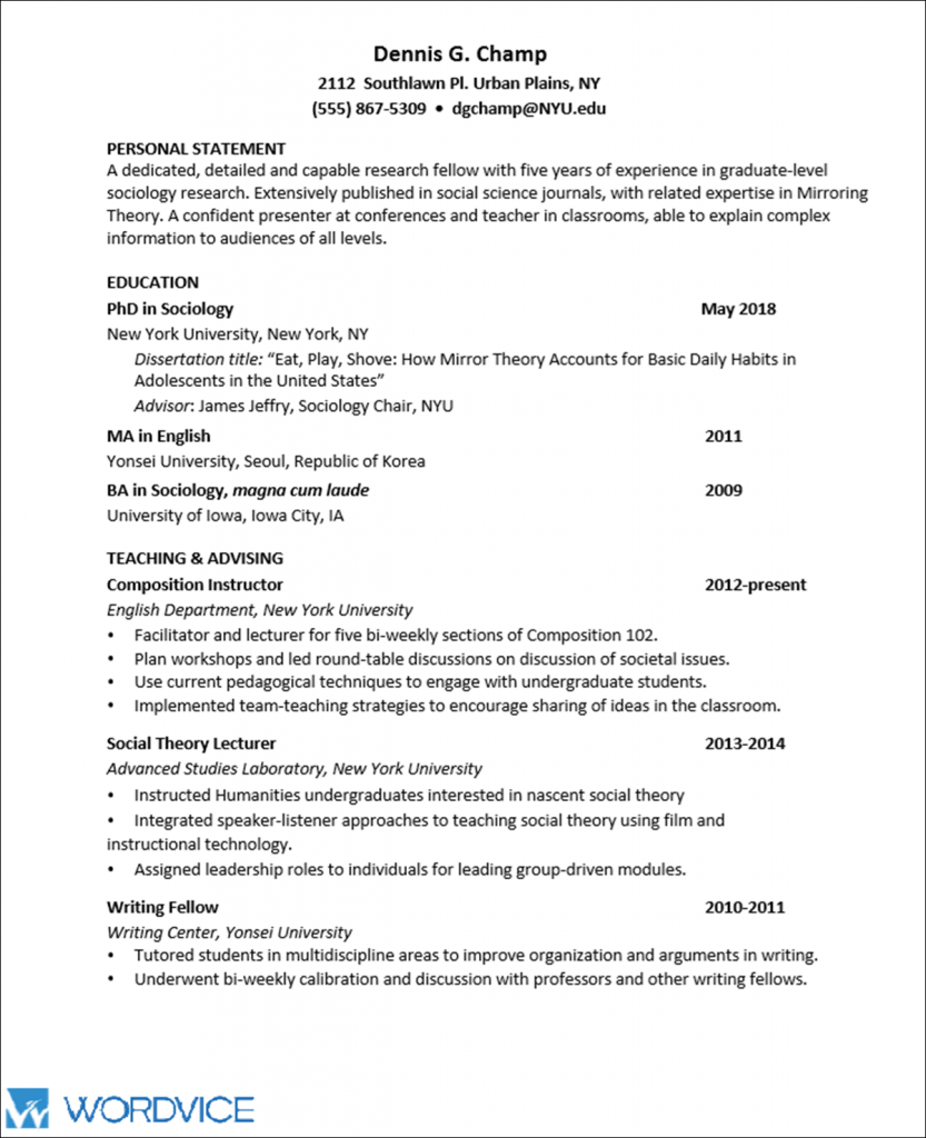 The resume presented here uses a classic range of colors (white and beige) and general presentation. Sample Graduate Cv For Academic And Research Positions Wordvice