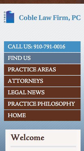 Wilmington NC Mobile Website Builders - Coble Law Firm, PC