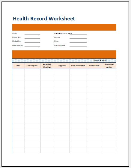 Medical Health Record Worksheet Template Microsoft Word
