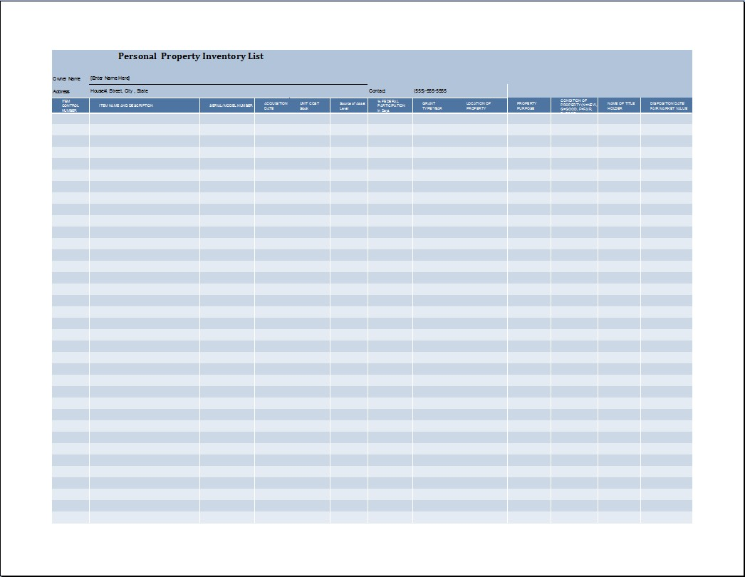 Property Inventory List Template