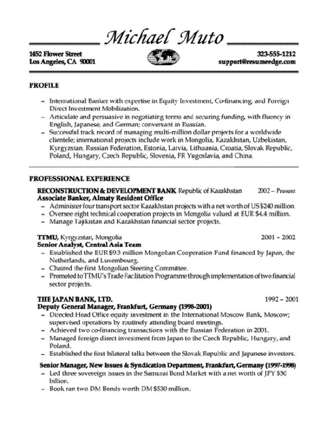 Banker Resume Page 1