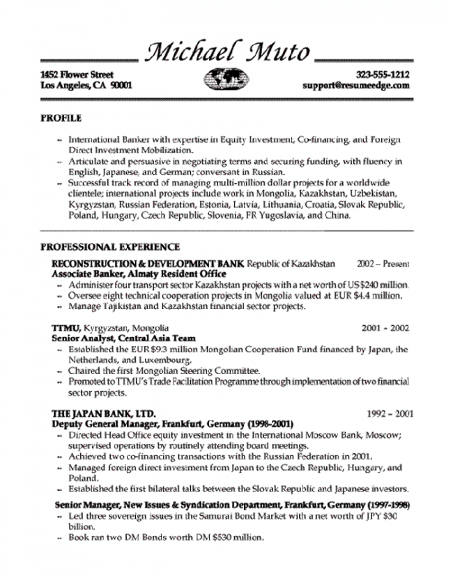 Amazing WorkAlpha Within Banker Resume