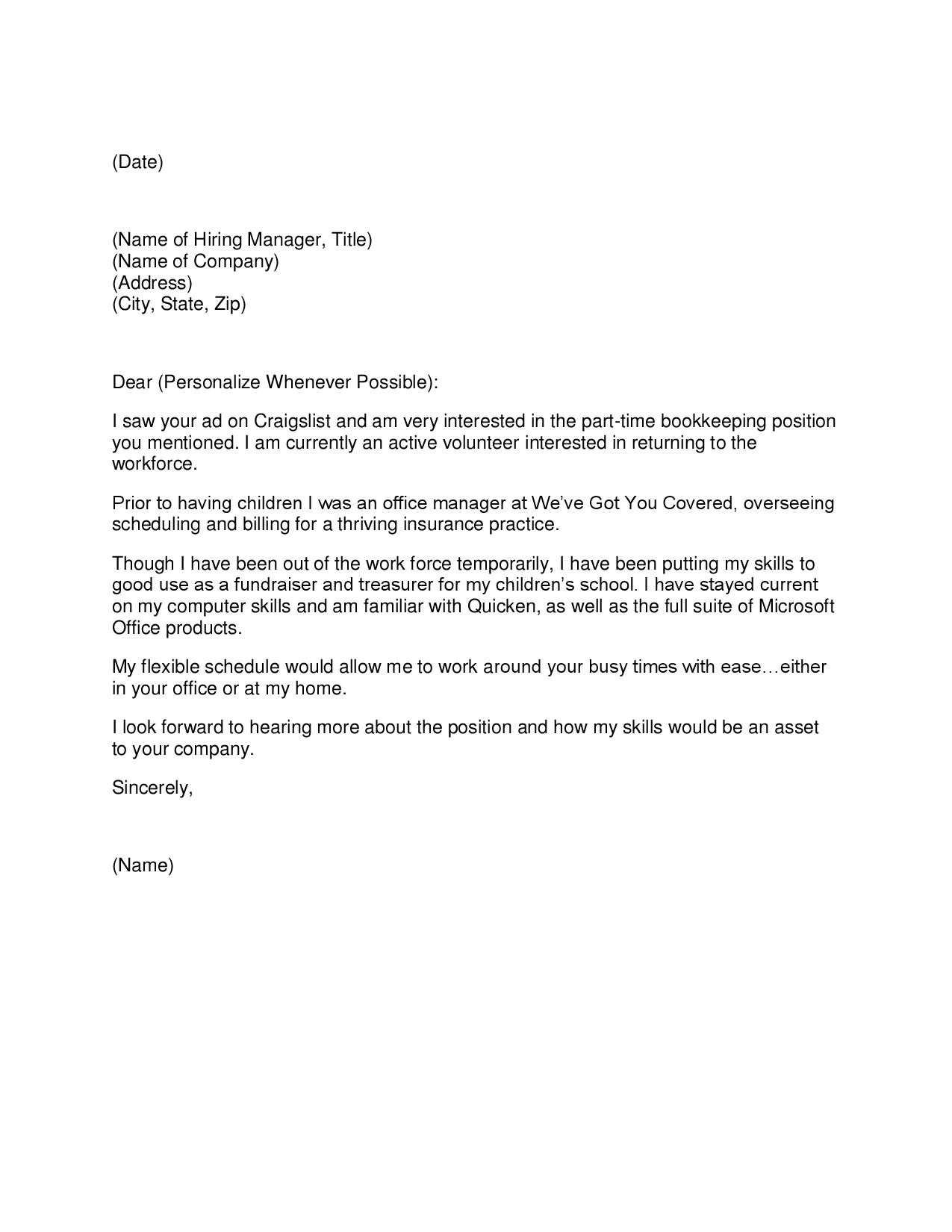 bookkeeper cover letters