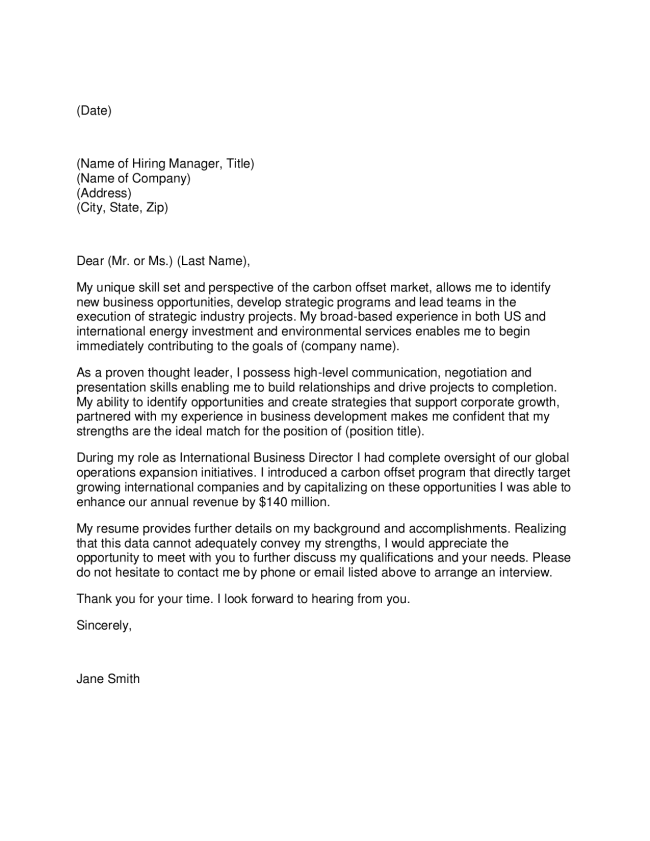 Carbon Market Director Cover Letter