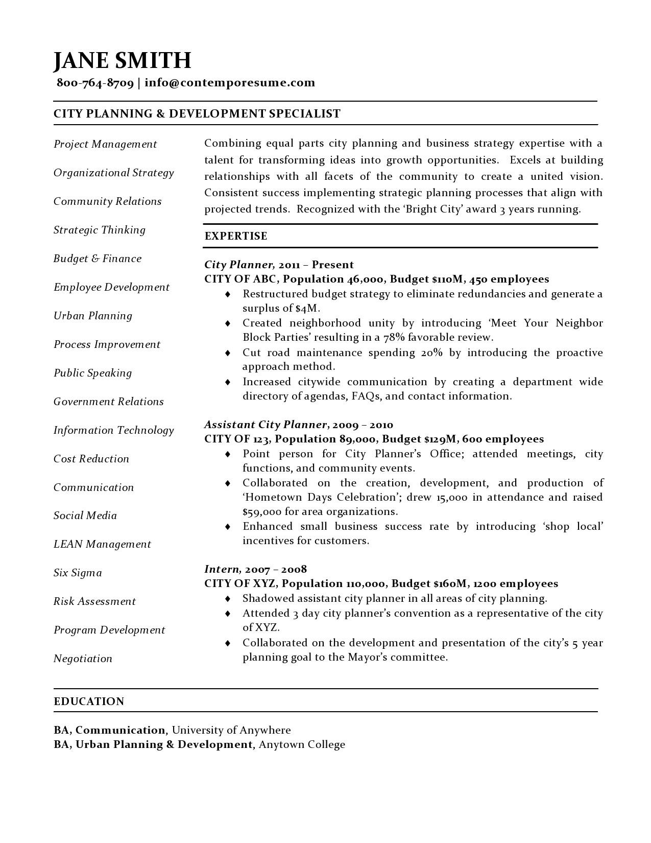 City Planner Resume