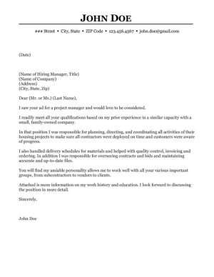 program manager cover letter example construction project manager cover letter 24124