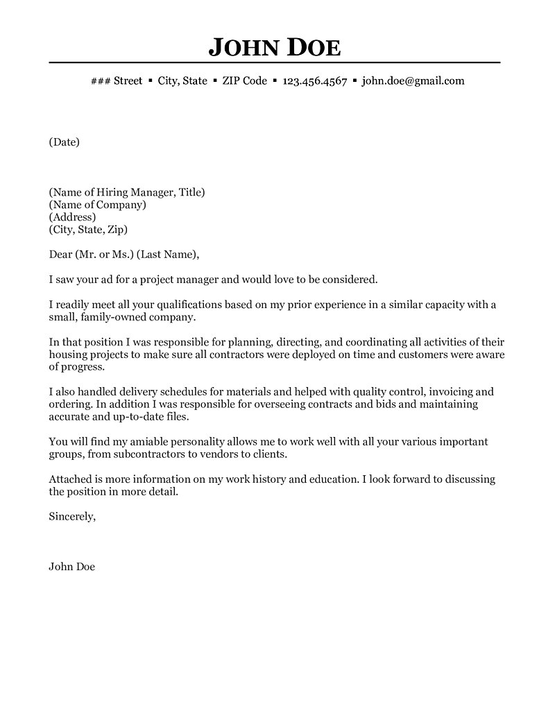 construction project manager cover letter examples ...