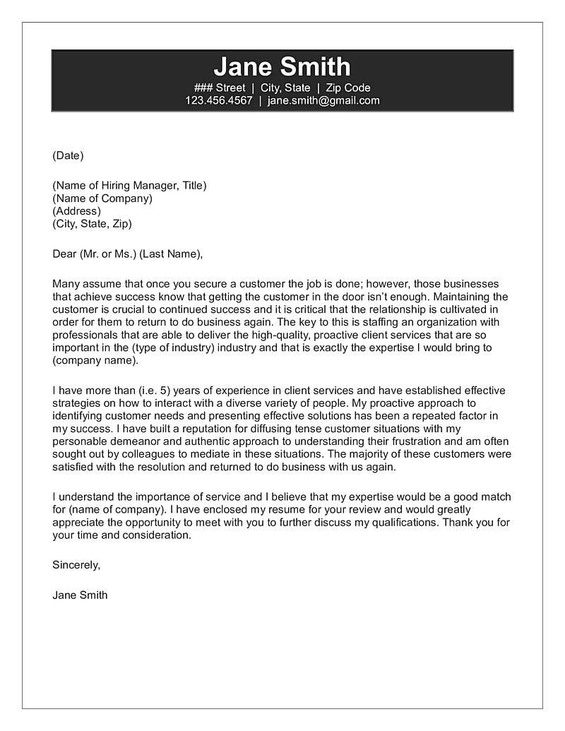 Cover Letter Service Customer Service Cover Letter