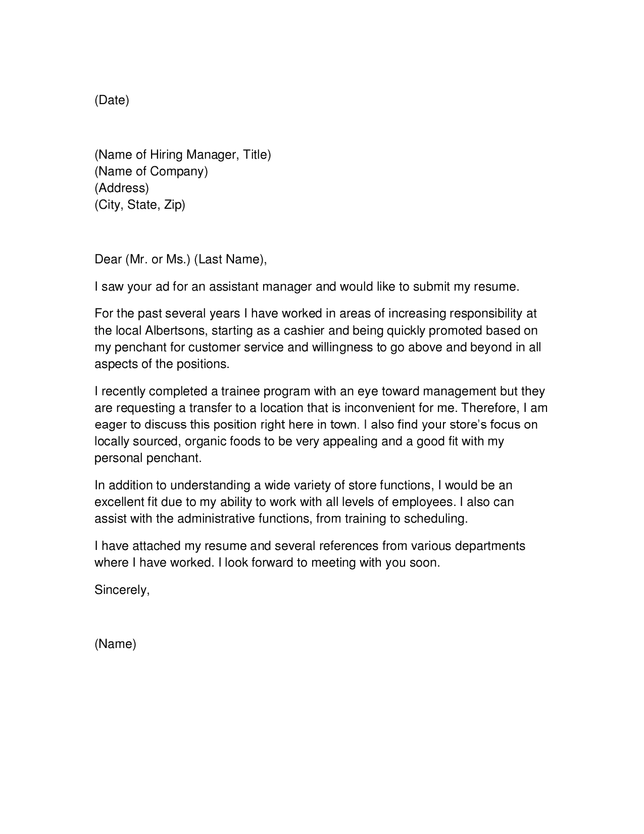 Resume Cover Letter Grocery Store