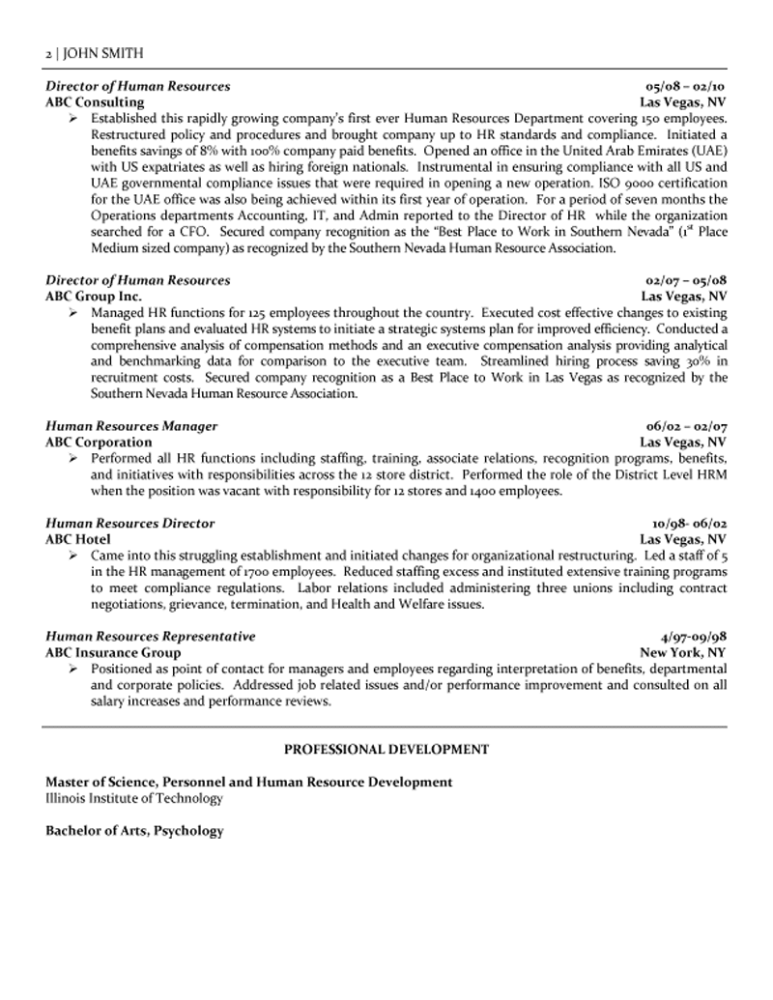 human resources resume sample 2 - Staffing Specialist Resume