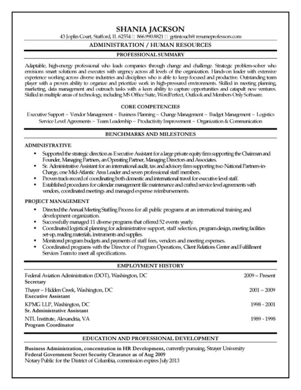Hr administrator resume for Sample resume for executive assistant to senior executive