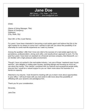 Real Estate Cover Letter Sample
