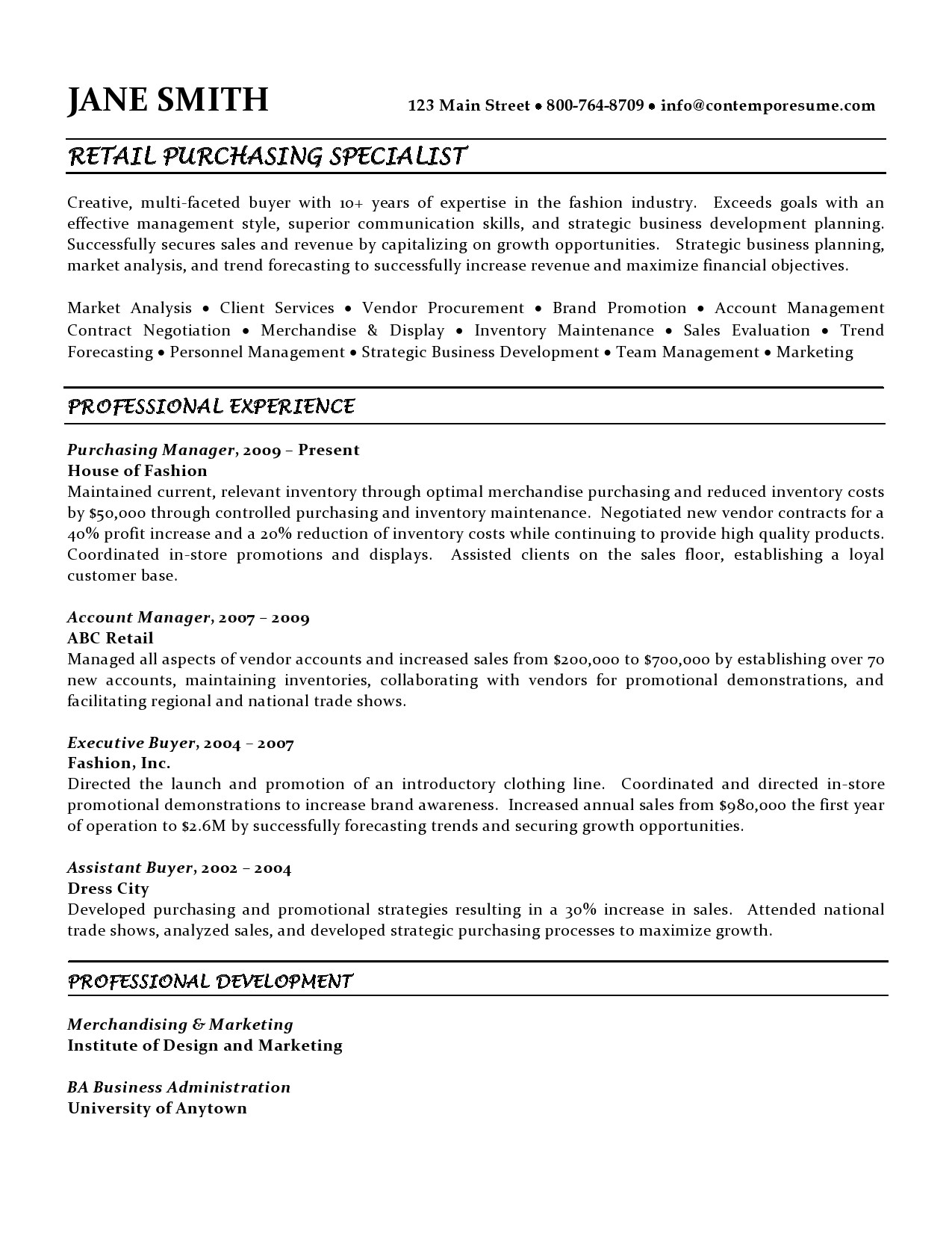 Sample Procurement Resume Retail Purchasing Specialist Resume