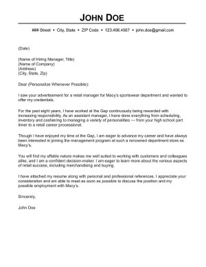 cover letter examples for retail