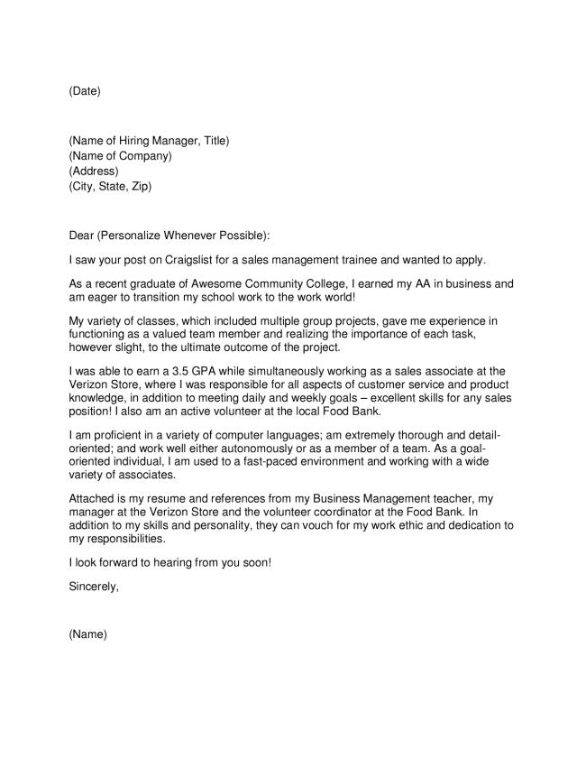 Volunteer Management Cover Letter June 2021