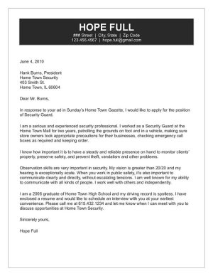 Security Guard Cover Letter | Security Guard Cover Letter