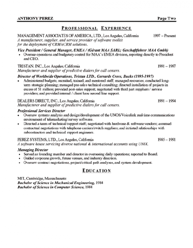software executive resume page 2 - Computer Science Resume Mit