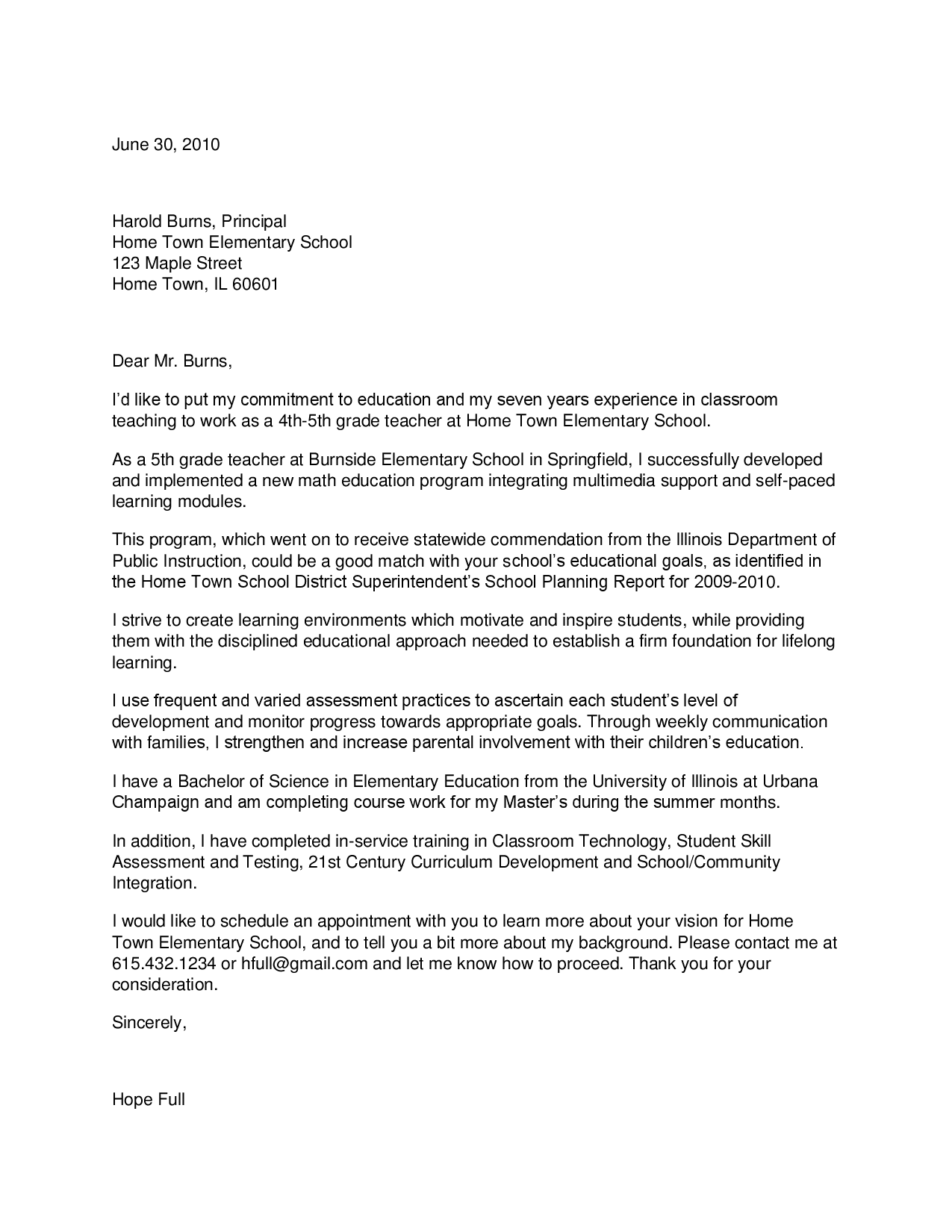 cover letter for the post of music teacher