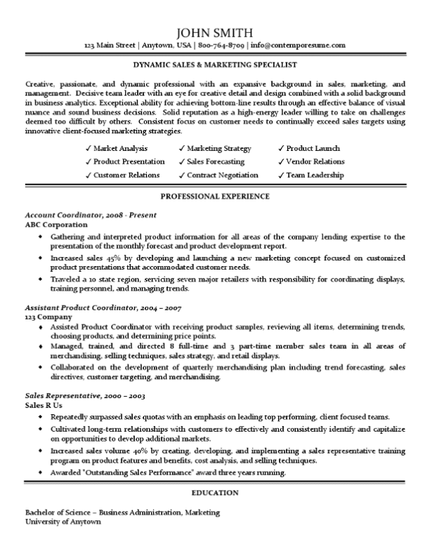 Sales & Marketing Specialist Resume (Traditional Standard Format)