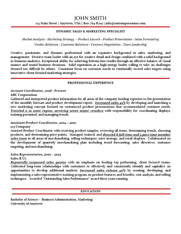 Sales & Marketing Specialist Resume Traditional Variation